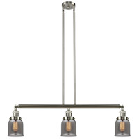Innovations Lighting 213-SN-S-G53-LED Small Bell LED 38 inch Brushed Satin Nickel Island Light Ceiling Light, Adjustable photo thumbnail