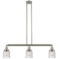 Innovations Lighting 213-SN-S-G54 Small Bell 3 Light 38 inch Brushed Satin Nickel Island Light Ceiling Light Franklin Restoration