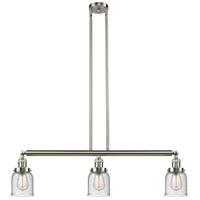 Innovations Lighting 213-SN-S-G54-LED Small Bell LED 38 inch Satin Nickel Island Light Ceiling Light Franklin Restoration