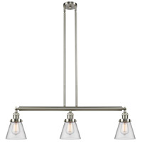 Innovations Lighting 213-SN-S-G62 Small Cone 3 Light 39 inch Brushed Satin Nickel Island Light Ceiling Light Franklin Restoration