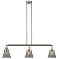 Innovations Lighting 213-SN-S-G63 Small Cone 3 Light 39 inch Brushed Satin Nickel Island Light Ceiling Light Franklin Restoration