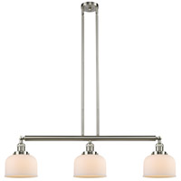 Innovations Lighting 213-SN-S-G71 Large Bell 3 Light 41 inch Brushed Satin Nickel Island Light Ceiling Light Franklin Restoration