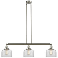 Innovations Lighting 213-SN-S-G72 Large Bell 3 Light 41 inch Brushed Satin Nickel Island Light Ceiling Light Franklin Restoration