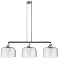 Innovations Lighting 213-SN-S-G74-L X-Large Bell 3 Light 42 inch Brushed Satin Nickel Island Light Ceiling Light Franklin Restoration