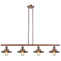 Innovations Lighting 214-AC-M3 Railroad 4 Light 53 inch Antique Copper Island Light Ceiling Light, Franklin Restoration photo thumbnail