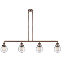 Innovations Lighting 214-AC-S-G204-6 Beacon 4 Light 51 inch Antique Copper Island Light Ceiling Light Franklin Restoration