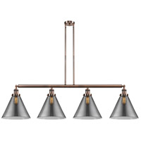 Innovations Lighting 214-AC-S-G43-L X-Large Cone 4 Light 56 inch Antique Copper Island Light Ceiling Light Franklin Restoration