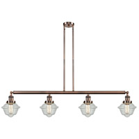 Innovations Lighting 214-AC-S-G534 Small Oxford 4 Light 52 inch Antique Copper Island Light Ceiling Light Franklin Restoration