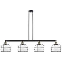 Innovations Lighting 214-BAB-G71-CE Large Bell Cage 4 Light 53 inch Black Antique Brass Island Light Ceiling Light Franklin Restoration