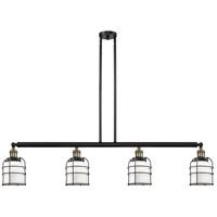 Innovations Lighting 214-BAB-S-G51-CE Small Bell Cage 4 Light 50 inch Black Antique Brass Island Light Ceiling Light Franklin Restoration