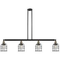 Innovations Lighting 214-BAB-S-G52-CE Small Bell Cage 4 Light 50 inch Black Antique Brass Island Light Ceiling Light Franklin Restoration