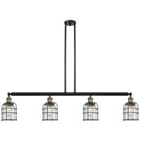 Innovations Lighting 214-BAB-S-G54-CE Small Bell Cage 4 Light 50 inch Black Antique Brass Island Light Ceiling Light Franklin Restoration