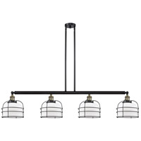 Innovations Lighting 214-BAB-S-G71-CE Large Bell Cage 4 Light 53 inch Black Antique Brass Island Light Ceiling Light Franklin Restoration