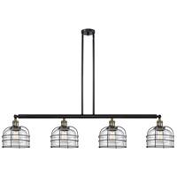 Innovations Lighting 214-BAB-S-G72-CE Large Bell Cage 4 Light 53 inch Black Antique Brass Island Light Ceiling Light Franklin Restoration