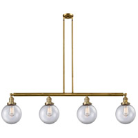Innovations Lighting 214-BB-G202-8 Large Beacon 4 Light 53 inch Brushed Brass Island Light Ceiling Light Franklin Restoration