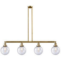 Innovations Lighting 214-BB-G204-8 Large Beacon 4 Light 53 inch Brushed Brass Island Light Ceiling Light Franklin Restoration