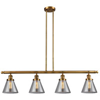 Signature 4 Light 48 inch Brushed Brass Island Light Ceiling Light, Large, Cone
