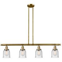 Innovations Lighting 214-BB-S-G54 Small Bell 4 Light 50 inch Brushed Brass Island Light Ceiling Light Franklin Restoration