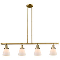 Innovations Lighting 214-BB-S-G61-LED Small Cone LED 51 inch Brushed Brass Island Light Ceiling Light Franklin Restoration