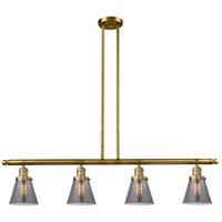 Innovations Lighting 214-BB-S-G63-LED Small Cone LED 51 inch Brushed Brass Island Light Ceiling Light Franklin Restoration