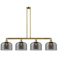 Innovations Lighting 214-BB-G73-L X-Large Bell 4 Light 54 inch Brushed Brass Island Light Ceiling Light Franklin Restoration