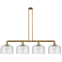 Innovations Lighting 214-BB-G74-L X-Large Bell 4 Light 54 inch Brushed Brass Island Light Ceiling Light Franklin Restoration