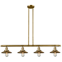 Innovations Lighting 214-BB-S-M4 Railroad 4 Light 53 inch Brushed Brass Island Light Ceiling Light Adjustable