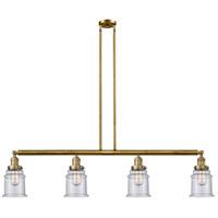 Innovations Lighting 214-BB-S-G184 Canton 4 Light 51 inch Brushed Brass Island Light Ceiling Light Franklin Restoration