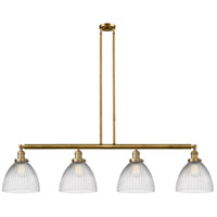 Innovations Lighting 214-BB-S-G222-LED Seneca Falls LED 51 inch Brushed Brass Island Light Ceiling Light Franklin Restoration