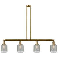 Innovations Lighting 214-BB-S-G262 Stanton 4 Light 51 inch Brushed Brass Island Light Ceiling Light Franklin Restoration