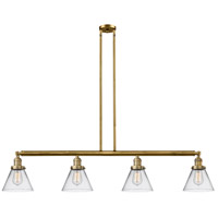 Innovations Lighting 214-BB-S-G42 Large Cone 4 Light 52 inch Brushed Brass Island Light Ceiling Light Franklin Restoration