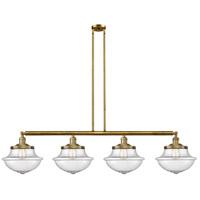 Innovations Lighting 214-BB-S-G544 Large Oxford 4 Light 54 inch Brushed Brass Island Light Ceiling Light Franklin Restoration