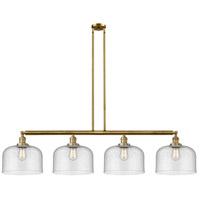 Innovations Lighting 214-BB-S-G74-L X-Large Bell 4 Light 54 inch Brushed Brass Island Light Ceiling Light Franklin Restoration