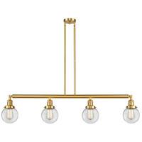 Innovations Lighting 214-SG-G202-6 Beacon 4 Light 51 inch Satin Gold Island Light Ceiling Light Franklin Restoration