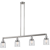 Innovations Lighting 214-SN-S-G52 Small Bell 4 Light 50 inch Brushed Satin Nickel Island Light Ceiling Light Adjustable