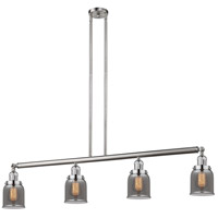 Innovations Lighting 214-SN-S-G53 Small Bell 4 Light 50 inch Brushed Satin Nickel Island Light Ceiling Light Adjustable