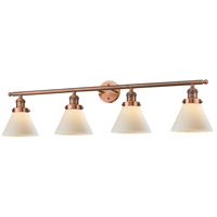 Large Cone 4 Light 42 inch Antique Copper Vanity Light Wall Light
