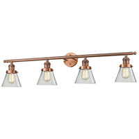 Small Cone 4 Light 42 inch Antique Copper Vanity Light Wall Light