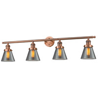 Innovations Lighting 215-AC-G63-LED Small Cone LED 42 inch Antique Copper Bath Vanity Light Wall Light Franklin Restoration