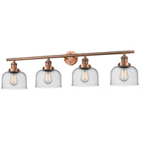 Large Bell 4 Light 42 inch Antique Copper Vanity Light Wall Light