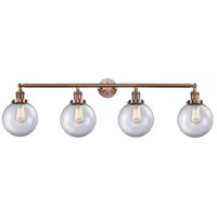 Innovations Lighting 215-AC-S-G202-8-LED Large Beacon LED 44 inch Antique Copper Bath Vanity Light Wall Light, Franklin Restoration