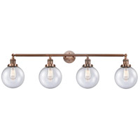 Innovations Lighting 215-AC-S-G204-8-LED Large Beacon LED 44 inch Antique Copper Bath Vanity Light Wall Light, Franklin Restoration