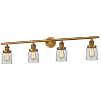 Innovations Lighting 215-BB-S-G52 Small Bell 4 Light 42 inch Brushed Brass Bathroom Fixture Wall Light Adjustable