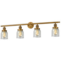 Innovations Lighting 215-BB-S-G54 Small Bell 4 Light 42 inch Brushed Brass Bathroom Fixture Wall Light Adjustable