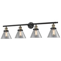 Large Cone 4 Light 42 inch Black and Brushed Brass Vanity Light Wall Light