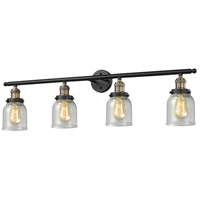 Small Bell 4 Light 42 inch Black and Brushed Brass Vanity Light Wall Light