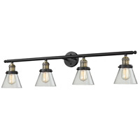 Small Cone 4 Light 42 inch Black and Brushed Brass Vanity Light Wall Light