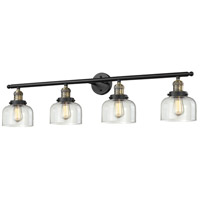 Large Bell 4 Light 42 inch Black and Brushed Brass Vanity Light Wall Light