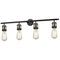 Bare Bulb 4 Light 42 inch Black and Brushed Brass Vanity Light Wall Light
