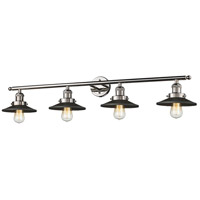 Railroad 4 Light 42 inch Polished Chrome and Black Vanity Light Wall Light